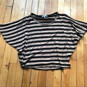 ▪️t o p s || tan + black striped flowy open crop▪️